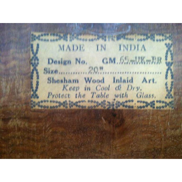 Anglo Indian Inlaid Square Side Table For Sale - Image 9 of 10