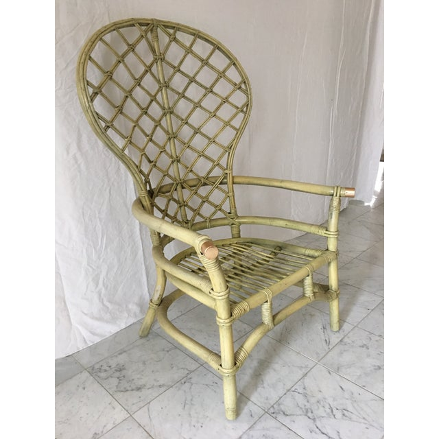 Vintage Green Rattan Fan Back Chair - Image 3 of 11
