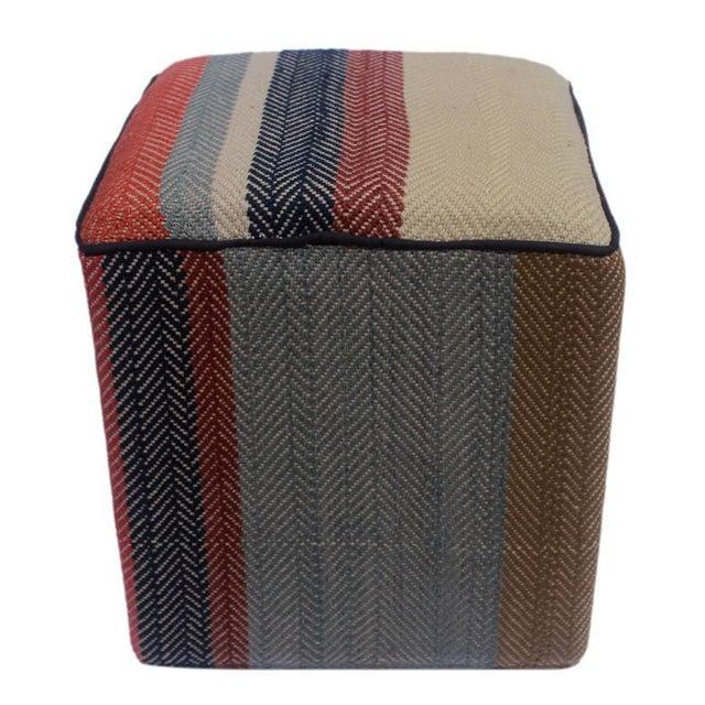 Arshs Dong Brown/Blue Kilim Upholstered Handmade Ottoman For Sale - Image 4 of 8