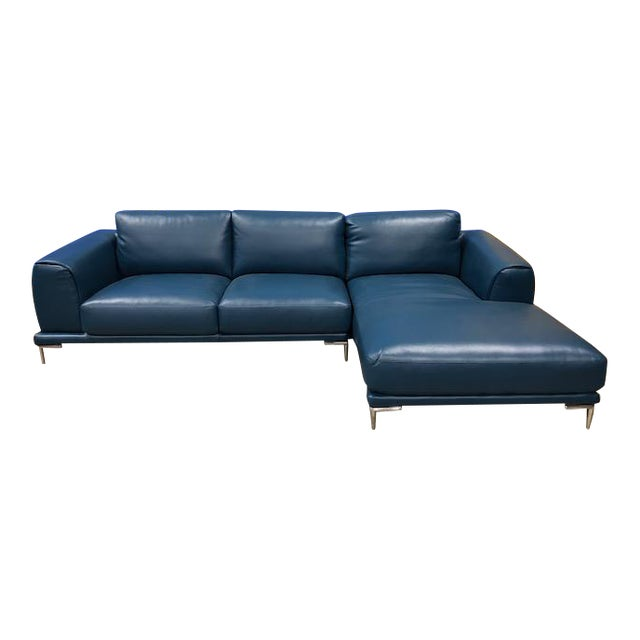 Divani Casa Drancy Modern Blue Bonded Leather Sectional | Chairish