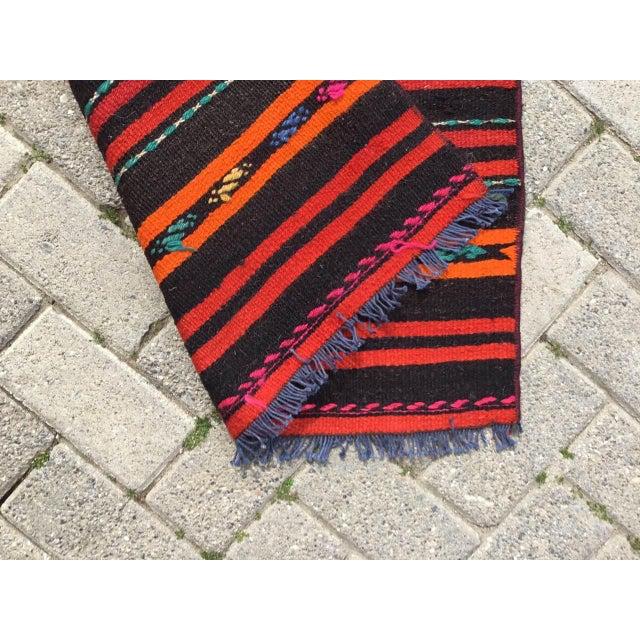 Vintage Striped Turkish Kilim Runner Rug For Sale - Image 9 of 10