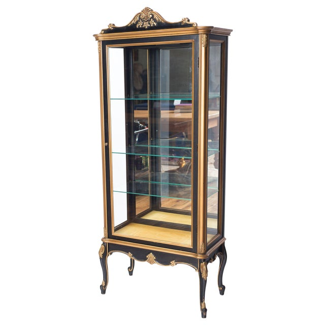 Black and Gold Mirrored Curio Cabinet For Sale