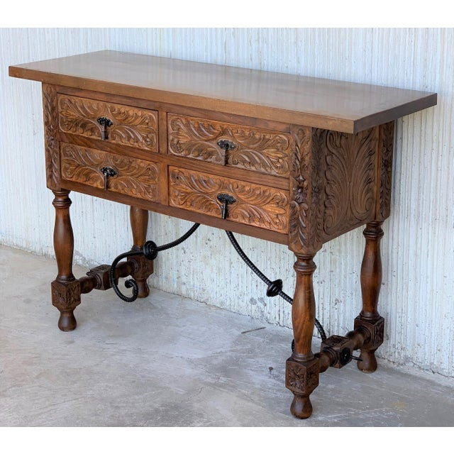 20th Spanish Carved Walnut Console Sofa Table, Four Drawers and Iron Stretcher For Sale - Image 4 of 6