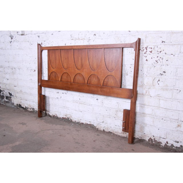 Danish Modern Broyhill Brasilia Mid-Century Modern Sculpted Walnut Queen Size Headboard For Sale - Image 3 of 8
