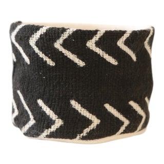 Vintage African Textile Black Chevron Mudcloth Planter