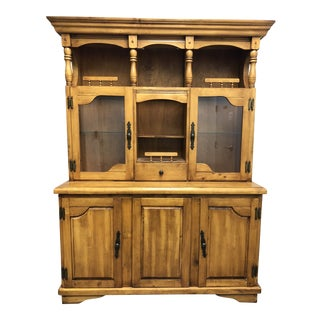 Traditional Wood Two Piece China Cabinet For Sale