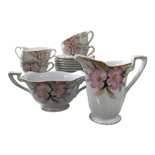 "Antique 1920's Noritake ""Azalea"" Red Stamp China Tea Set - 14 Pieces For Sale"