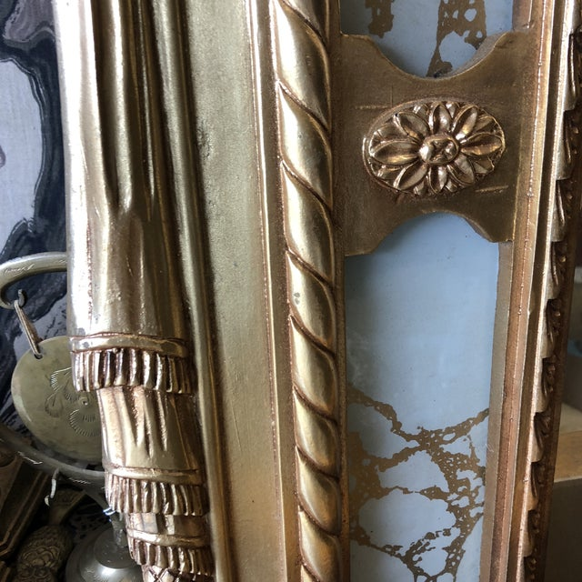 Rococo Scrolling Floor Gilded Mirror For Sale - Image 4 of 7
