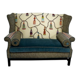 1960s Vintage Eclectic Wingback Settee For Sale