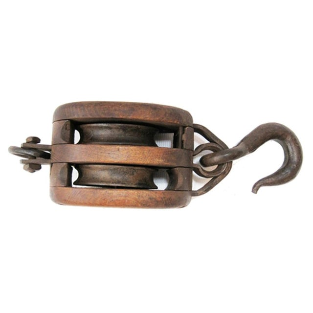 Antique iron and wood pulley chairish Where can i buy reclaimed wood near me