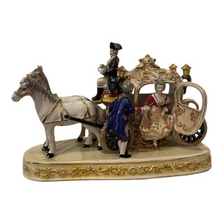 Antique Early 20th Century Dresden Germany Porcelain Woman Horses Carriage Figural Statue Sculpture For Sale