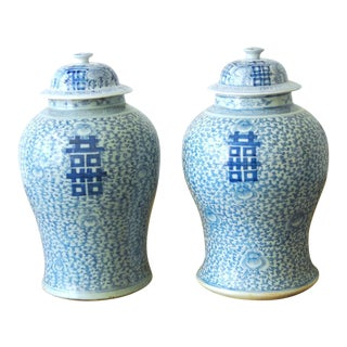 Chinese Blue and White Ginger Jar Vases - a Pair