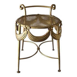 Gilt Swags and Floral Buttons Italian Stool For Sale