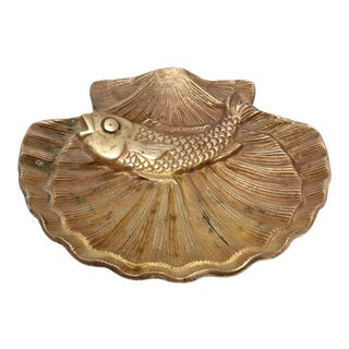 Vintage Brass Scallop Shell and Fish Ashtray For Sale
