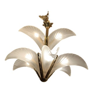 Art Deco Murano Glass 9 Lite Frosted Glass Leaf Palm Tree Chandelier For Sale