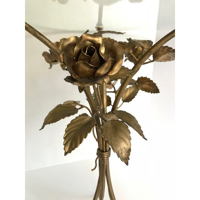 Vintage Gilded Floral and Glass Table - Image 2 of 3