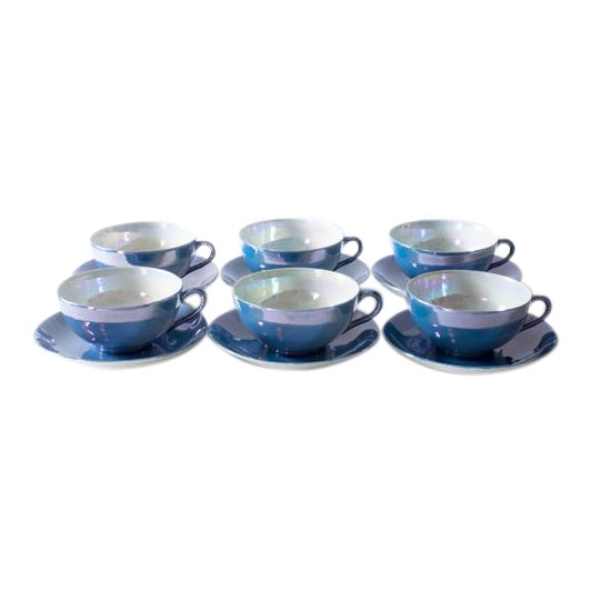 Pearlescent Teacups and Saucers - Set of 6 For Sale