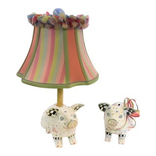 MacKenzie Childs Pig Lamp with Shadeand Piggy Bank Set - a Pair For Sale