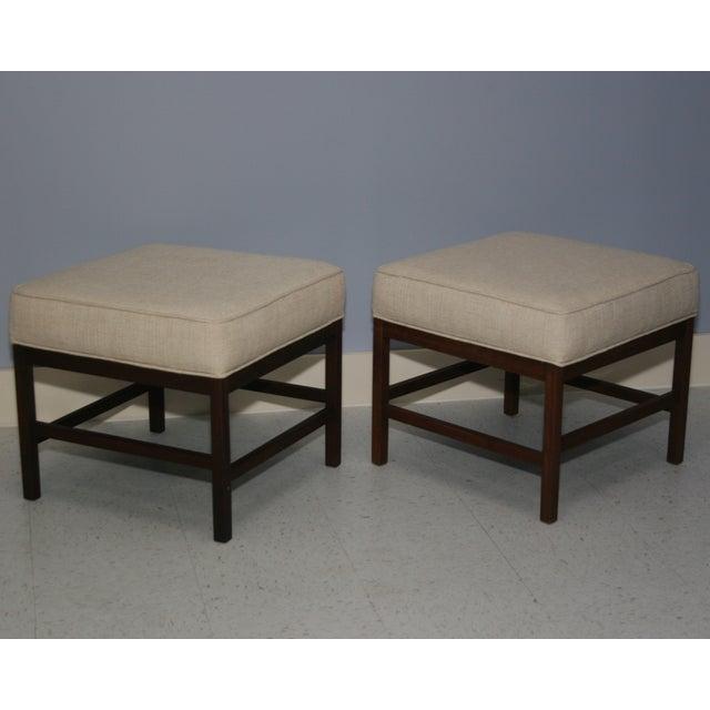 Mid-Century Walnut Frame Upholstered Stools - Pair - Image 2 of 6