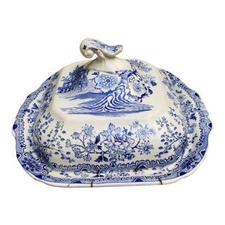 Blue and White Pagoda Pattern Dish For Sale