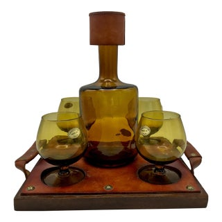 Mid Century Spanish Amber Glass and Leather Brandy Set For Sale
