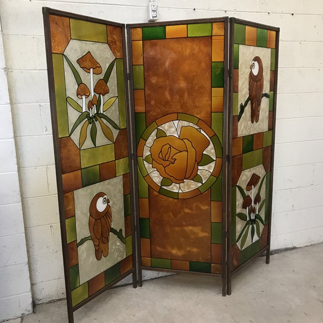 Boho Chic Mid Century Kitchy 3-Panel Screen Room Divider For Sale - Image 3 of 13