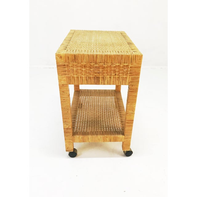 Boho Chic Wrapped Rattan Bar Cart For Sale - Image 3 of 6