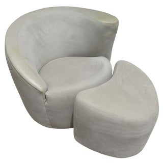 Vintage Nautilus Chair and Matching Ottoman by Vladimir Kagan for Directional For Sale