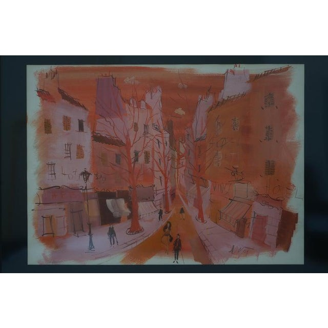 """Mid-Century Modern Mid-Century Modern Levier """"Street Scene"""" Gouache and Watercolor Painting Signed in the Painting For Sale - Image 3 of 11"""