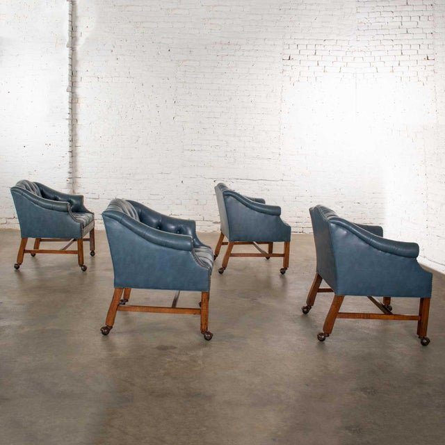 Chinese Blue Vinyl Faux Leather Chinese Chippendale Tub Style Rolling Game Chairs Set of Four For Sale - Image 3 of 13