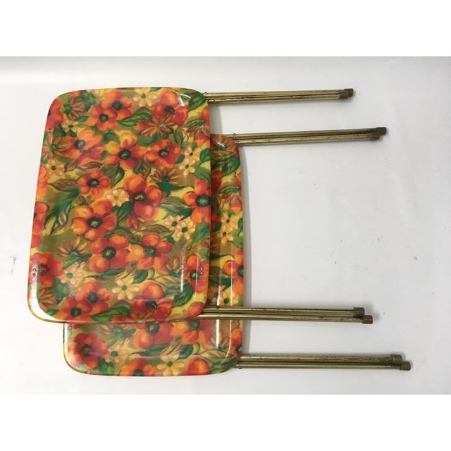 Vintage Mid-Century Fiberglass Floral TV Trays - A Pair For Sale - Image 5 of 6