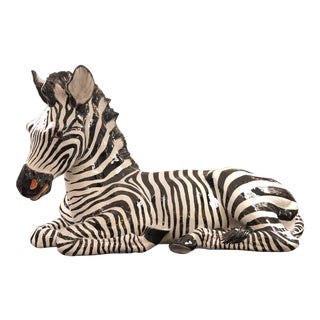 Monumental 1960's Ceramic Zebra Made in Italy For Sale