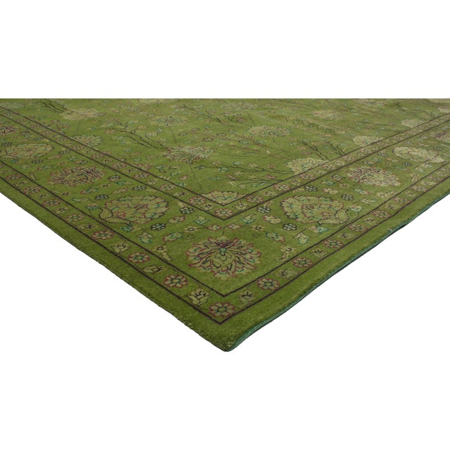 Transitional Indian Rug in Green - 8′1″ × 10′ - Image 2 of 4