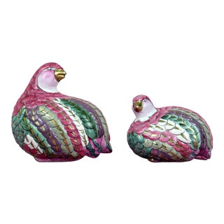 Colorful Ceramic Partridges With Gold Accents For Sale