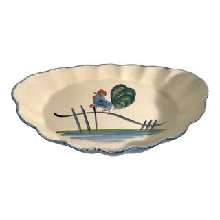 Late 20th Century Vintage Spongeware Ceramic Rooster Serving Dish For Sale