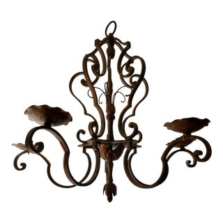 Late 19th Century French Provincial Wrought Iron Chandelier With Bronze Finish For Sale