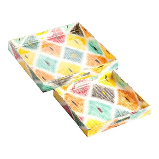 Lacquered Tray Set, Multi Color Ikat Square, Set of 2 For Sale