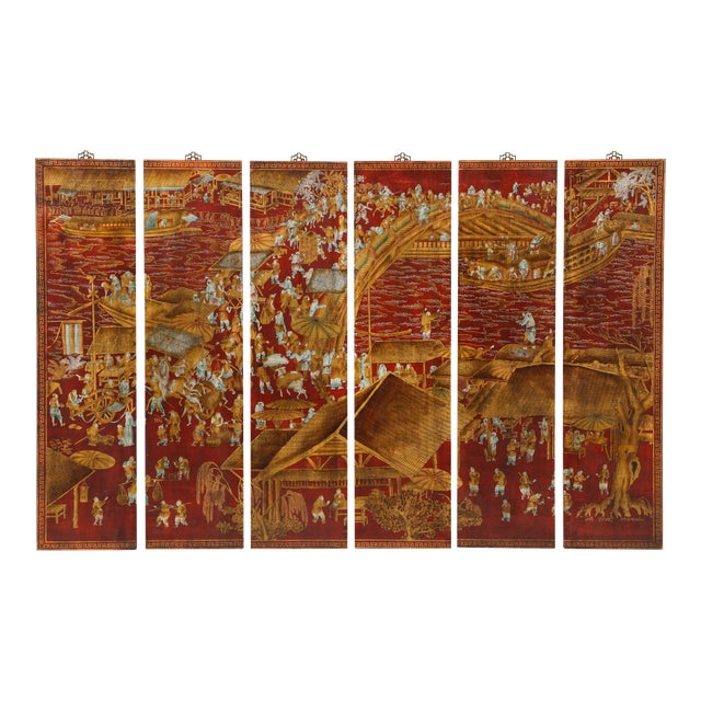 Red Lacquered Chinoiserie Panels - Set of 6 For Sale