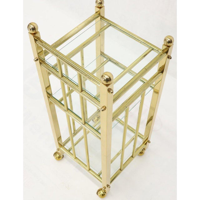 Metal Mid-Century Modern Brass and Glass Square Stand Table Cart Pedestal on Wheels For Sale - Image 7 of 13