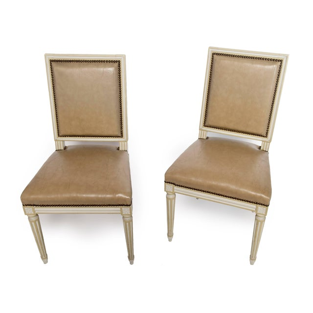 Mid 19th Century Square Back Louis XVI Dining Chairs Covered in a Tan Leather - Set of 4 For Sale - Image 5 of 11