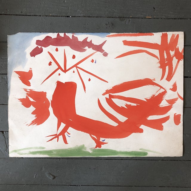 "1970s Vintage Original Robert Cooke Abstract ""Crazy Chicken "" Painting For Sale - Image 5 of 5"