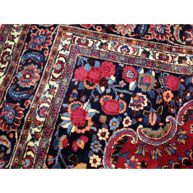 Red 1910s handmade antique Persian Mashad rug 10.2' x 13.9' For Sale - Image 8 of 11