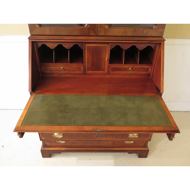 1990s Vintage Hekman Inlaid Mahogany & Yew Wood Secretary Desk For Sale - Image 10 of 13
