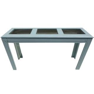 Blue Painted Oak Wood Sofa Table