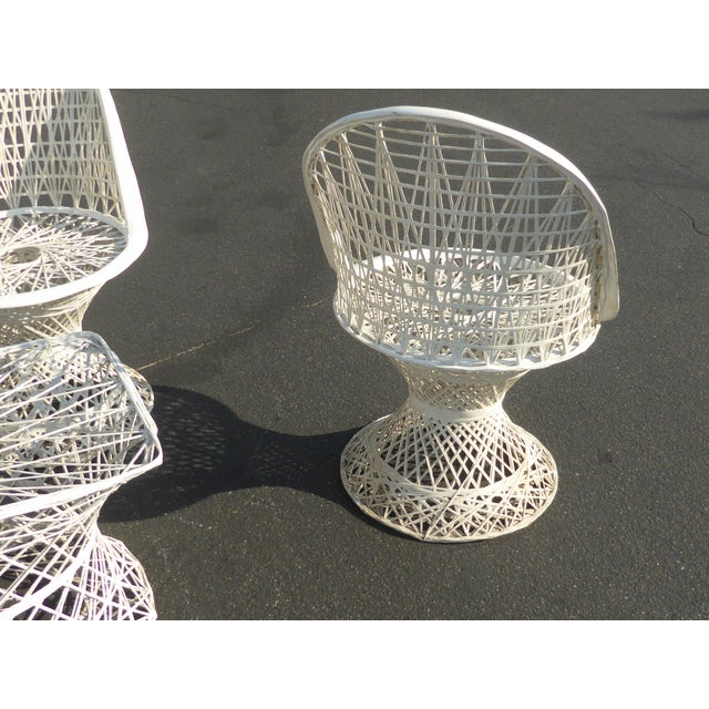 Four Spun Fiberglass White Chairs & Coffee Table by Russell Woodard Patio Set - Image 9 of 11