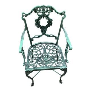 Antique Victorian Cast Aluminum Chair For Sale