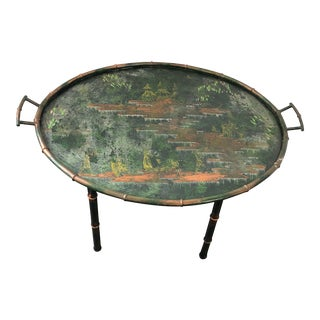 1940's Chinoiserie Hand Painted Copper Tray Table For Sale