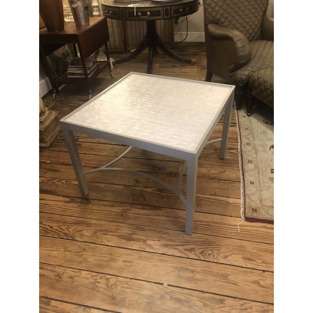 Abalone and Grey Painted Square Cocktail Table For Sale - Image 4 of 10