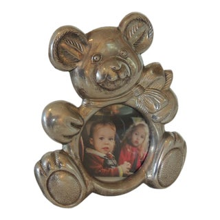 Teddy Bear Pewter Picture Frame For Sale