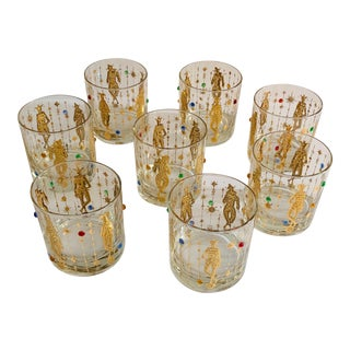 Culver Mardi Gras Jester Lowball Glasses - Set of 8 For Sale